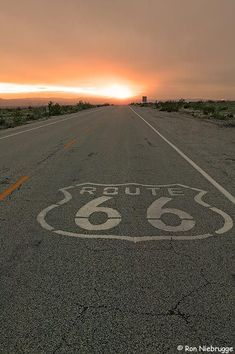 Sunset on historic Route 66 near Amboy, California. I've driven all of the old Route 66... charming drive!: