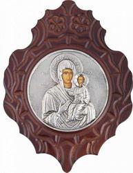 """Εικόνα """"Παναγία Οδηγήτρια"""" στρογγυλή με πλαίσιο από φύλλο ασήμι 925 ΚΩΔ. 315…"""