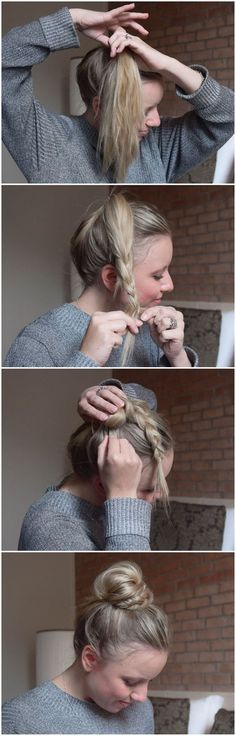 BRUN: Half Braid, Half Bun – Halb Dutt, Halb Geflochten BRUN – helped braid, helped bun … so fast and easy can imitate the sweet Dutt each. Step-by-step instructions-braided hair-hair braiding-hairstyle-hairstyle-practical hairstyle for everyday life Cute Simple Hairstyles, Braided Hairstyles, School Hairstyles, Gatsby Hairstyles, Newest Hairstyles, Bun Hairstyles For Long Hair, Step By Step Hairstyles, Short Hair, New Hair