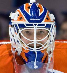 Edmonton Oilers colours are the best. Goalie Mask, Hockey Goalie, Masked Man, Edmonton Oilers, Sports Illustrated, Nhl, Football Helmets, Masks, Colours