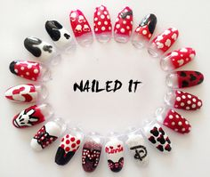 Hand painted Disney Minnie and Mickey nail art wheel. By Nailed It Beauty