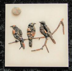 Birds on a twig от PEBBLEMOSAICS на Etsy