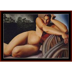 Nude On A Terrace, 1925 - De Lampicka Cross Stitch Pattern By Cross Stitch Collectibles