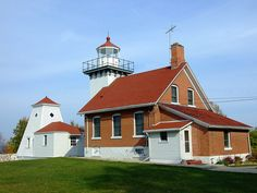 Sherwood Point Lighthouse.  It's now used as a private retreat house for Coast Guard personnel, but is open to the public during the Lighthouse Walk in May.