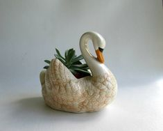 Swan Planter Succulent Container Urban Garden Eco Friendly