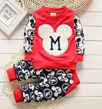 2016 Spring baby girls christmas outfits Sport suit clothing set children hoodies pants kids mouse clothes sets(China (Mainland))
