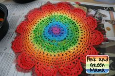 Pink and Green Mama: Painted Rainbow Doily Bag Tutorial / adding these to our jean art bags in september!