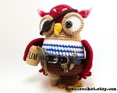 Doctorette the owl amigurumi PDF crochet pattern by Nowacrochet