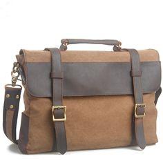 Handmade Vintage Crazy Horse Leather Canvas Single Shoulder Bags / Messager Bags / Briefcase / 14' 15' MacBook Laptop Bags (m6870-1)