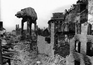at-at in what looks like a bombed out ww2 building