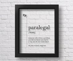 TRANSPARENT Paralegal Definition Print Lawyer Gift Lawyer Office Decor Attorney Gift Coworker Gift D