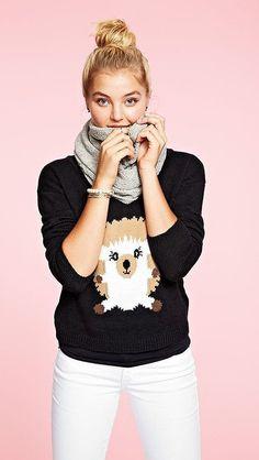 Model Rachel Hilbert in a hedgehog sweater from Delia's