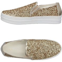 Laura Biagiotti Sneakers ($89) ❤ liked on Polyvore featuring shoes, sneakers, gold, logo shoes, glitter slip on shoes, round toe shoes, flatform sneakers and laura biagiotti shoes