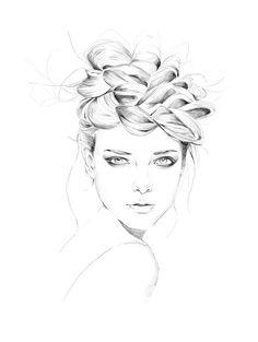 Fashion illustration - chic braided crown, fashion drawing // Antonia Pajarito