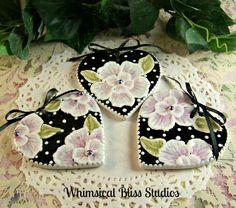 Whimsical Bliss Studios - Pink & Black Heart Ornaments