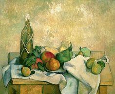 Still Life With Bottle Of Liqueur Paul Cezanne