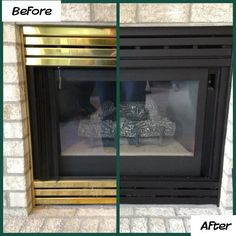 Brass Fireplace Inserts – Spray on an updated finish, using a high-heat enamel paint.  Take out brass pieces, lightly sand, apply paint and let dry!