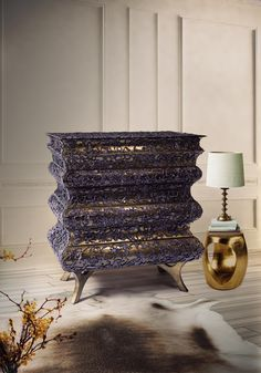 The Crochet Nightstand merges a traditional knitting technique, with the best of Portuguese luxury furniture design | www.bocadolobo.com #bocadolobo #luxuryfurniture #exclusivedesign #interiodesign #designideas #contemporarybedroom #nightstand