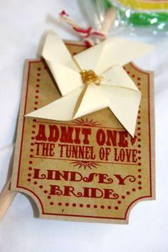 Vintage Carnival Wedding Escort Card or Place Card with Pinwheel