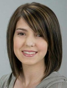 Dark Chocolate Hair, Medium Length, Sideswept bangs, with lowlights. Would work with natural gray and silver highlights.