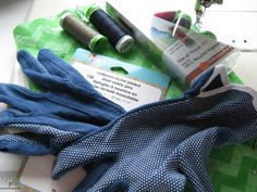 Cool tools used in free motion quilting include quilting gloves to provide a good grip on the fabric.