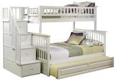 classic queen twin bunk beds | Click to enlarge  ...   I like the white color .. and stairs .. it might be too big for the spare bedroom, but like this look .. would prefer drawers versus a trundle bed