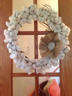 Burlap Cotton Boll wreath.