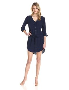 3/4 Rolled Sleeve Dress with Waist Tie by Michael Stars