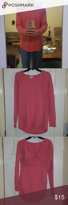 Salmon colored hooded sweatshirt Massimo long fitted hooded sweatshirt. Salmon in color. Size Medium. No stains, rips, or wear. Excellent condition. Mossimo Supply Co Tops Sweatshirts & Hoodies