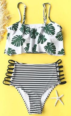 Wanna feel the tropical air? Cupshe Morning Dew Print Bikini Set will truely heat the vibe! Falbala design with leaves printing, strappy at bottom sides, adjustable shoulder straps. Devote yourself to the warm sunshine and genial sea wind~