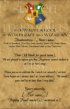 Harry Potter Baby Shower Invitation.@Kasandra Riehle Starkey @Hallie M Fouch  I see your bachelorette party and I raise you one baby shower.