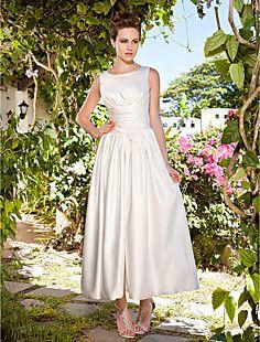 A-line Scoop Ankle-length Satin Wedding Dress – USD $ 129.99