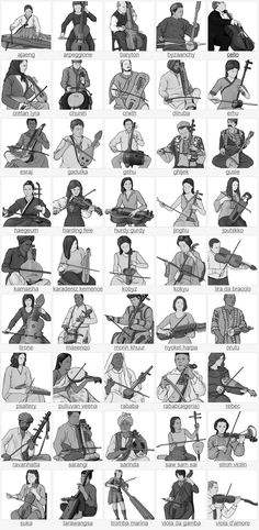 stringed instruments. bowed string instruments / Grayscale images