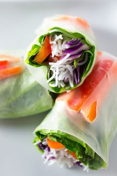 Fresh and delicious vegan salad spring rolls are the perfect way to eat a rainbow medley of vegetables. Perfect for a quick & easy lunch, dinner, or snack.