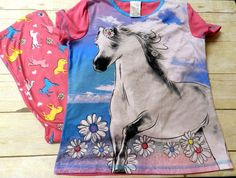 Girls 2 Pc Horse Pajama/PJ Sleepwear Set Size Lg 10/12 Elastic Waist Bottom  #KomarKids #PajamaSet