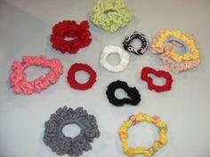 "Homemade crocheted ""scrunchies""...some ruffled, some simple.  Ruffled=$4   Plain =$1"