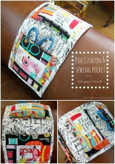 pin cushion and sewing pocket tutorial - such a great idea for when I binge watch shows.  I can sew a bit at the same time.