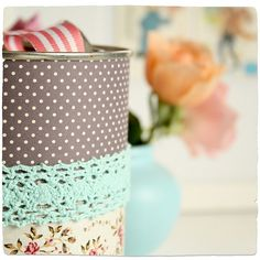 pretty paper and lace covered tin
