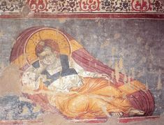 """One of the types depict Christ as """"reposing"""" This iconographic type run across the Greece and the Balkans since the century. The frescoes of the cathedral Protaton in Karyes, Athos. Fresco, Byzantine Art, Byzantine Icons, Tempera, Life Of Christ, Orthodox Icons, Mural Painting, Illuminated Manuscript, Cathedral"""