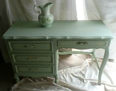 Paris Apartment Desk / Vanity Custom PAINT to by poppycottage, $450.00