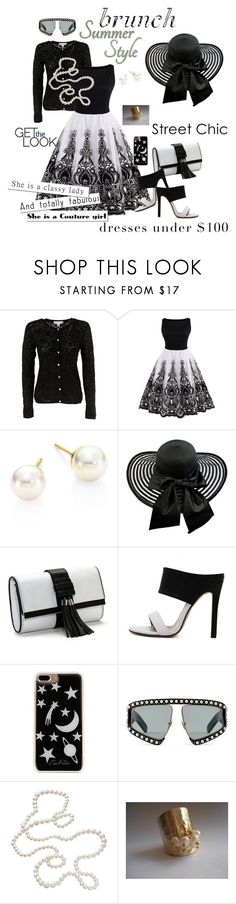 """""""brunch summer-style in black and white"""" by daincyng ❤ liked on Polyvore featuring Michael Kors, Majorica, Edie Parker, Gucci, blackandwhiteworld and awomanofstyle2"""