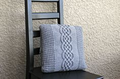 Knitted pillow case pattern, DIY knitted tutorial