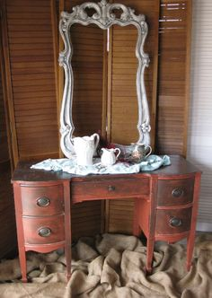 Vanity Bow Front Ladies Desk Vintage PAINT to by poppycottage, $495.00