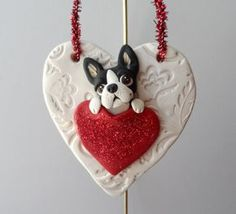 Boston Terrier Valentine Ornament polymer clay Dog Lover by theWRC, $28.00