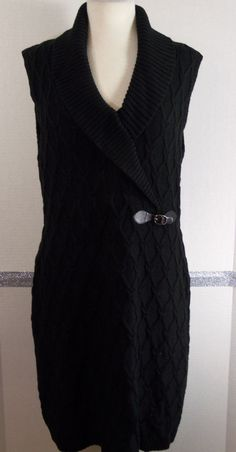 Calvin Klein Sweater Dress Size XL Black Cable knit sleeveless knee-length #CalvinKlein #SweaterDress #Casual