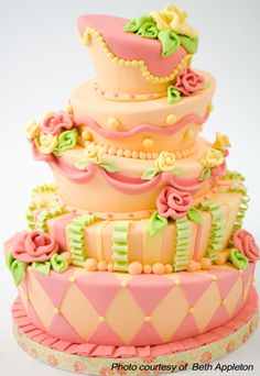 Whimsical, sophisticated girly cake