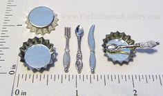 miniature fork knife spoon silverware doll house jewelry making polymer clay dessert