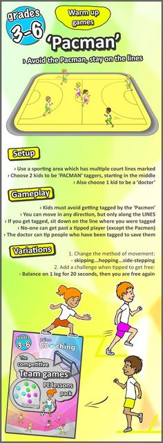 weight loss nutrition health tips health and fitness gym workout 8 great warm up games for your PE lessons - try them out for your sport classes now! Gym Games For Kids, Exercise For Kids, Pe Activities, Activity Games, Movement Activities, Recess Games, Physical Activities For Kids, Dementia Activities, Sport Nutrition