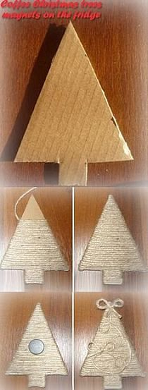 Step by step homemade Christmas tree decoration from cardboard and string, great for a kids Christmas craft or an easy way to make thrifty holiday season decorations Handmade Christmas Decorations, Christmas Centerpieces, Christmas Crafts For Kids, Diy Christmas Ornaments, Homemade Christmas, Rustic Christmas, Christmas Projects, Holiday Crafts, Christmas Holidays