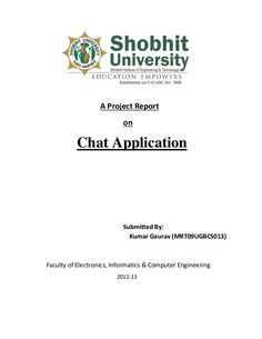 A Project Report                           on          Chat Application                           Submitted By:           ...